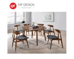 MF DESIGN Coffle Dining Set (1 Round Table + 6 Chairs) - Scandinavian Style [Full Solid]